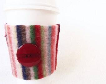 Coffee Sweater MULTI STRIPED Coffee Sleeve / Coffee Cozy Handmade Wool Coffee Cosy by WormeWoole