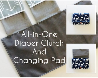 MADE TO ORDER All-in-One Diaper Clutch and Changing Pad, Deer/Arrow diaper clutch and changing pad