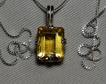 "Citrine Necklace, 5.28 Carat Yellow Citrine Pendant On 18"" Sterling Silver Necklace, November Birthstone, Genuine Citrine Jewelry"