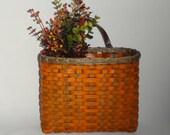 Mail Basket / Wall Basket-Painted / Primitive Style  Wall Basket / Handwoven Basket/ Fall Decor Basket