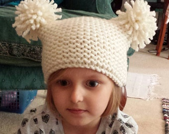 Double Pom Pom Hat,  Natural Cream colour yarn, Kids love this fun hat, Perfect for Photo Shoot, Baby Shower, Baby arrival Gift, Winter hat