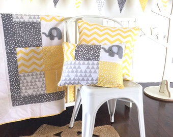 Elephant Baby Crib Quilt in Yellow, cot quilt, baby blanket, crib bedding, patchwork quilt