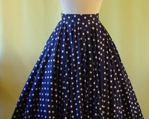 1950s Skirt / Navy and White Polka Dot Print / More Than Full Circle / Soft Cotton / S Small / 25 26 Waist