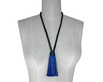 Tassel Necklace in Leather Braided Rope Necklace Non Metal Jewelry Leather Tassel necklace Blue & Black leather necklace women