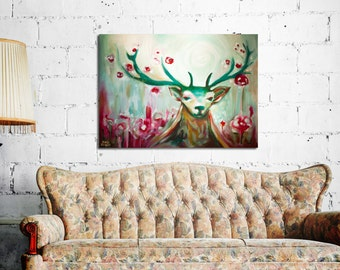 Whimsical art, Deer painting, Floral animal, Buck painting, Red and green deer, Original acrylic & oil on canvas, contemporary artists