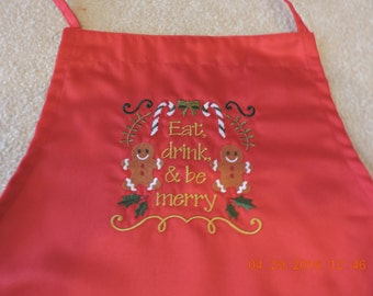 Eat, Drink and Be Merry Bib Apron