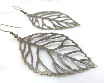 Large leaf earrings -skeleton leaf earrings - antiqued brass leaf earrings - antiqued bronze leaf earrings - leaf dangles - leaf filigree