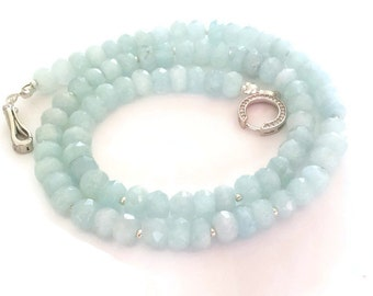 Genuine Aquamarine Necklace, 925 Sterling Silver Clasp, Gemstone Necklace, Handcrafted