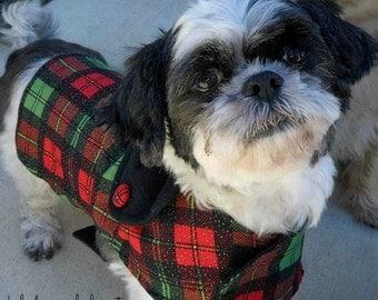 Custom Made Holiday Plaid Reversible Dog Jacket
