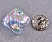 "Tie Tack Flair Pin  / Cremation Jewelry - Fused Glass - Custom Made - Clear Pink Ripple or You Choose Color -  1/2"" 12mm Memorial Jewelry"