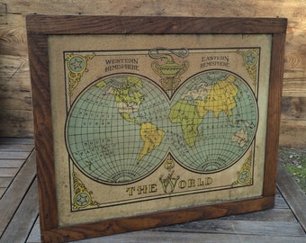 Vintage World Map and Chalkboard