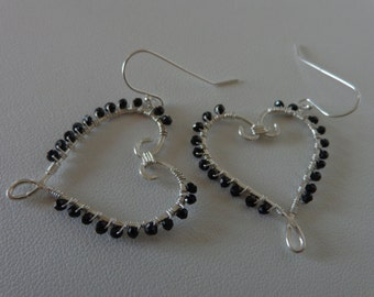 Sweet sterling silver hearts with black spinel wire wrapped hoop earrings