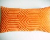 RESERVED FOR LIZ: Orange Designer Throw Pillow Cover - Mid Century Modern Throw Pillow - Orange Geometric Pattern - Velvet & Linen
