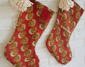 Red Kantha Christmas Stockings with Pom Pom Tassel - Boho Christmas Décor - Modern Bohemian