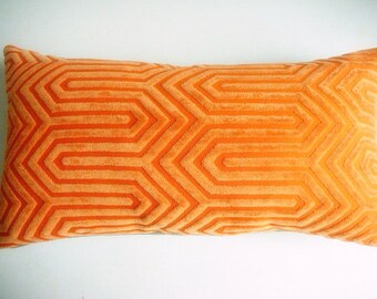 Orange Designer Throw Pillow Cover - Mid Century Modern Throw Pillow - Orange Geometric Pattern - Velvet & Linen