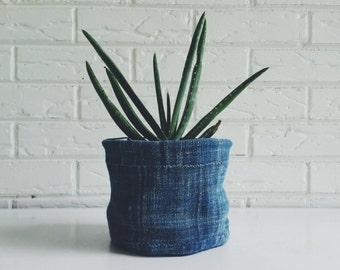 Reversible Indigo Mudcloth Textile Planter - Fabric Plant Cover - Bohemian Home Decor
