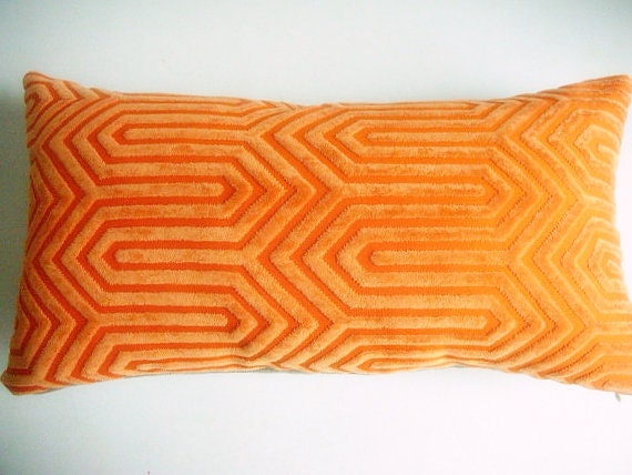 Mid Century Throw Pillow : Orange Designer Throw Pillow Cover Mid Century Modern Throw