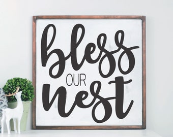 Bless Our Nest Wood Sign, Family Room Sign, Home Sign Decor, Wall Art, Gallery Wall Decor, Mantle Decor, Sign for Mantle, Sign for Entryway