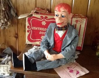 Mortimer Snerd Ventriloquist Doll by Juno Antique 1968 in Original Box SALE