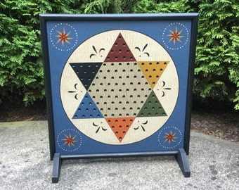 """19"""" x 19"""", Chinese Checkers, Primitive, Wood, Checkers, Game Board, Folk Art, Gameboard"""