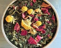 Organic Anxiety Tea, Herbal Tea, Tension Tamer Tea for Calming, Soothes Nerves, Handblended Tea - Chamomile, Rose, Lemon Balm, Holy Basil