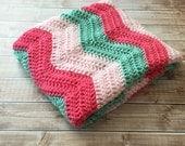 Chevron Baby Blanket/Ripple Pattern Crochet Blanket/Chevron Blanket/Crochet Baby Blanket/Mint, Coral and Pink Stroller Blanket-READY TO SHIP
