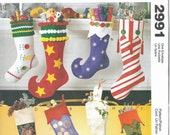 Christmas Stocking Pattern - McCall's 2991 Stocking Pattern - Novelty Christmas Stockings