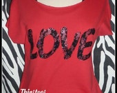 Valentines Day shirt Lace love tshirt Love t shirt Red off shoulder tee cut Red valentines day shirt Red shirt