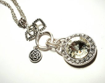 SALE Bejeweled Round Crystal Clear Glass Gem Cut Gemstone Bling Pendant Necklace w/Infinity Twist & Dangling Celtic Knot Charm FREE SHIPPING