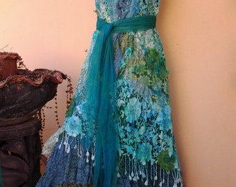 "20% OFF boho wedding dress formal brides maid bohemian lagenlook gypsy vintage  .large to 48"" bust.."
