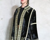 velvet embroidered jacket, 90s vintage black and gold velvet paisley embroidered soutache bohemian jacket, womens xs/small