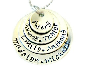 Hand Stamped Personalized Stacked Necklace - Mothers Necklace - Seven Names