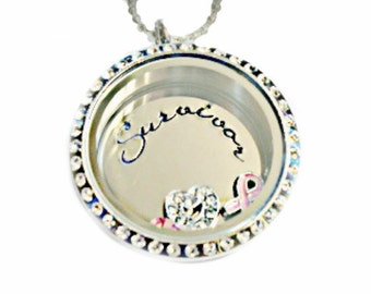 Hand Stamped Jewelry Hand Stamped Breast Cancer Memory Locket Necklace- Family locket - Hand Stamped Stainless Steel