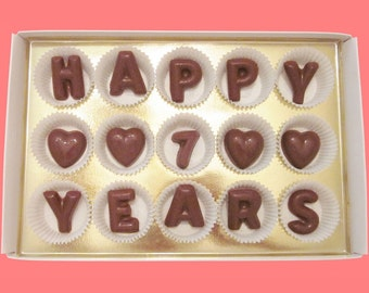 7th Anniversary Gift for Man Husband Gift from Wife Women Gift Couple Gift Seventh Wedding Happy 7 Years Seven Large Milk Chocolate Letters