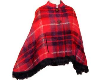 Plaid Wool Cape, Mohair, Red Tartan, Vintage 1950s