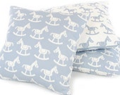"Western Rocking Horse Pillow Cover (16""x16"") in Blue, Reversible, Cowboy Nursery, Baby Room Decor, Throw Pillow, Machine Washable"