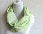 Lime Green Scarf, Sari Thin Cotton Scarf. Sky Blue, Light Mustard, Blue, Leaves Border
