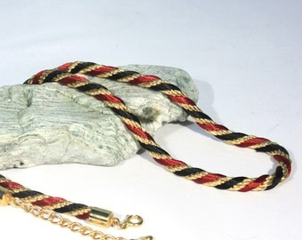 Black Red and Gold Twisted Rope Necklace, Simple Elegance