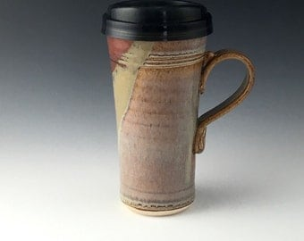 Pottery Travel mug / Commuter mug with silicone lid - Nutrual - Burgandy Tan accents