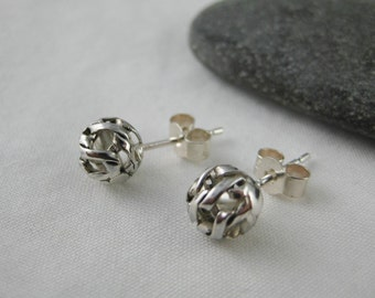 Sterling Silver Netted Ball Ear Studs 7mm - Handmade By CMcB Jewellery - Free UK postage