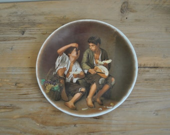 Vintage china plate - Classical scene - Boys eating grapes and melon