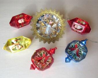 Group of Six Vintage Jewel Brite Christmas Ornaments