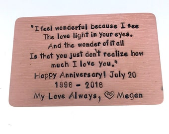 Copper Wallet Insert Card, Copper Hand Stamped, 8th Anniversary item, boyfriend gift, husband gift, Anniversary gift for man, Art