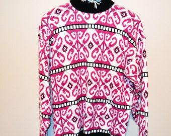 Vintage Sweater Deco Mod Print