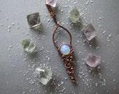 Elvish Opal Necklace, Rustic Boho Necklace, Gemstone Necklace, Retro Opal Pendant