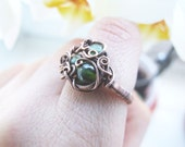 Dark Forest Ring, Wire Wrapped Copper Woodland Ring with Forest Green Eye, Woodland Jewelry
