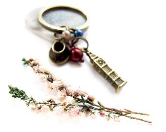 London Keychain, Retro Romantic Big Ben Keychain, Adorable London Bagcharm