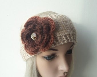 Headband, Hand Knitted  Ear Warmer In Beige Color With Crochet Flower