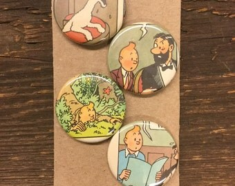Tin Tin upcycled/recycled magnet set (4)