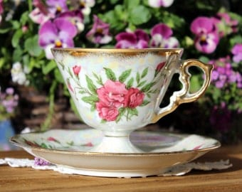 Iridescent Pedestal Tea Cup Teacup and Saucer, Norleans April Sweet Pea, Japan 12975